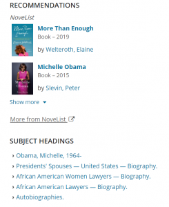 Screenshot of the Vaughan Public Libraries' Catalogue Page for Becoming by Michelle Obama