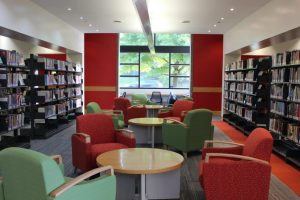 New, comfy seating, paint and carpeting throughout the library.