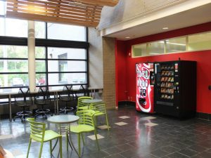New bar seating by the vending machines and main entrance.