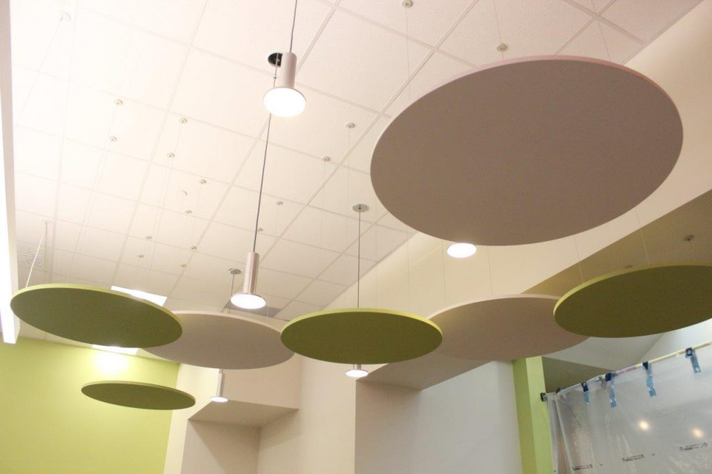 Circular ceiling lighting.