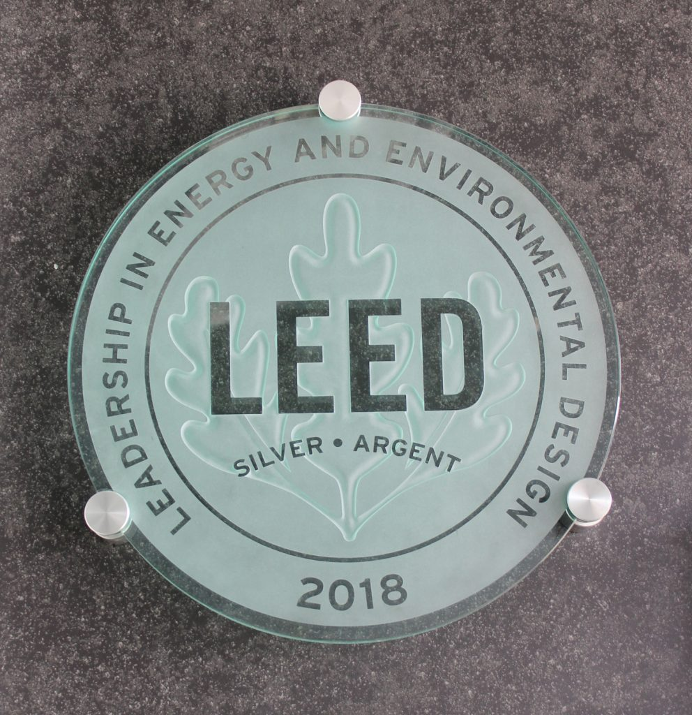Silver LEED® plaque at Civic Centre Resource Library.