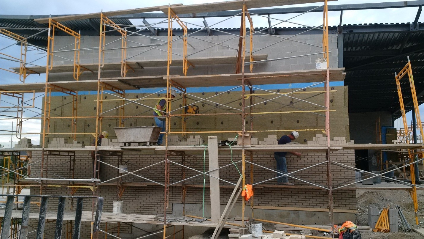 Masonry work on the north wall of the library.