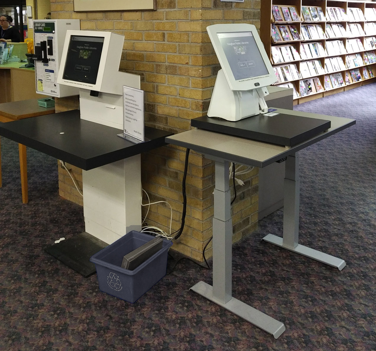 New self checkout area Maple Library
