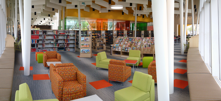 Panorama of inside of library