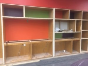 Close-up of the shelving where Learn It! equipment will be showcased.