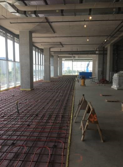 Progressing radiant floor heating installation