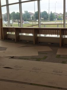 Counter-height seating overlooking skate park