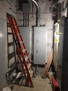 Electrical panels installed in IT room