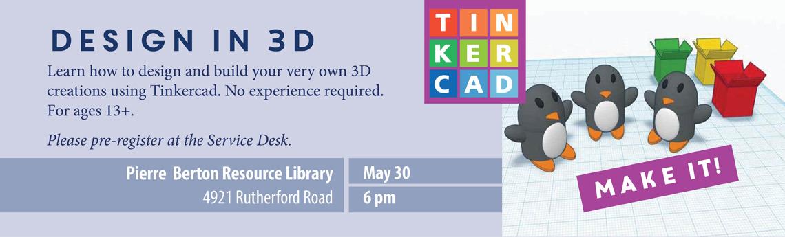 Banner promoting VPL's Design in 3D program.