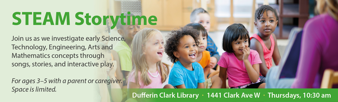 Banner promoting the STEAM Storytime program